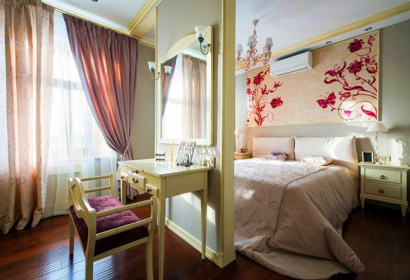 Шторы для спальни стиль модели комбинирование